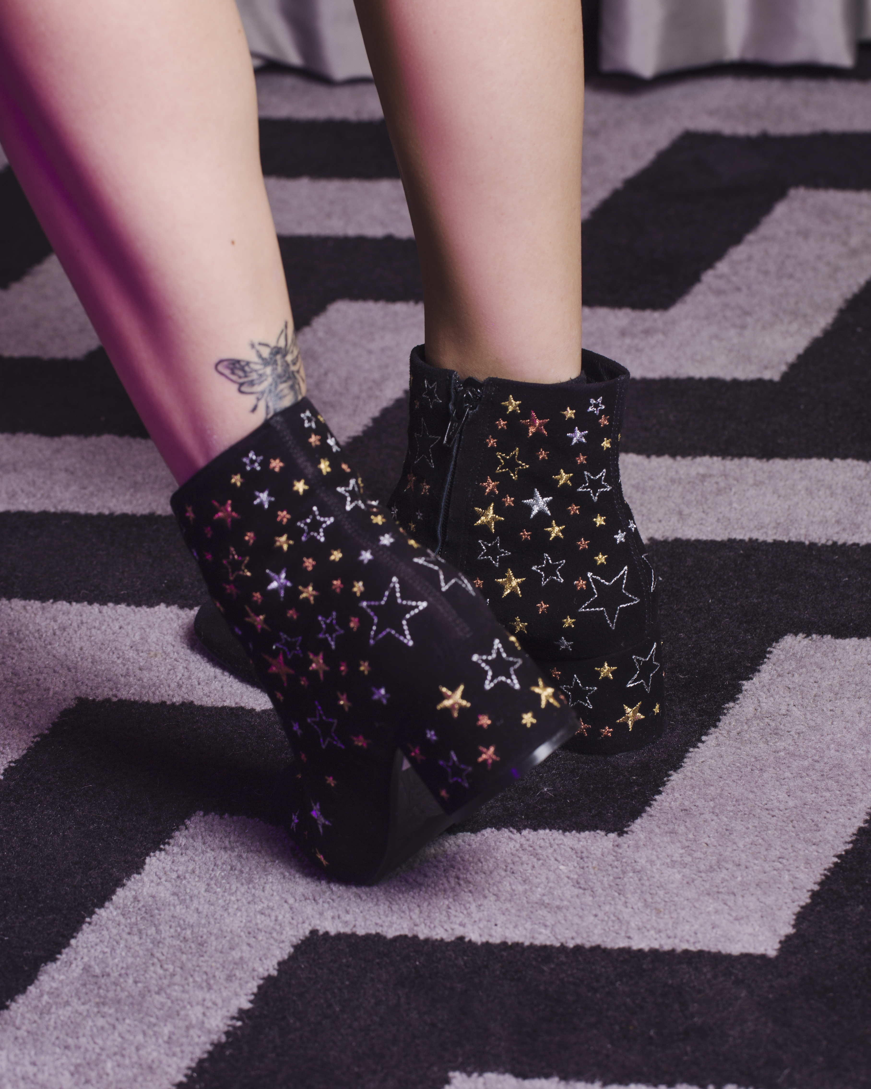 MEGAN ELLABY'S BEE TATTOO WITH STAR PRINT BOOTS BY DUNE