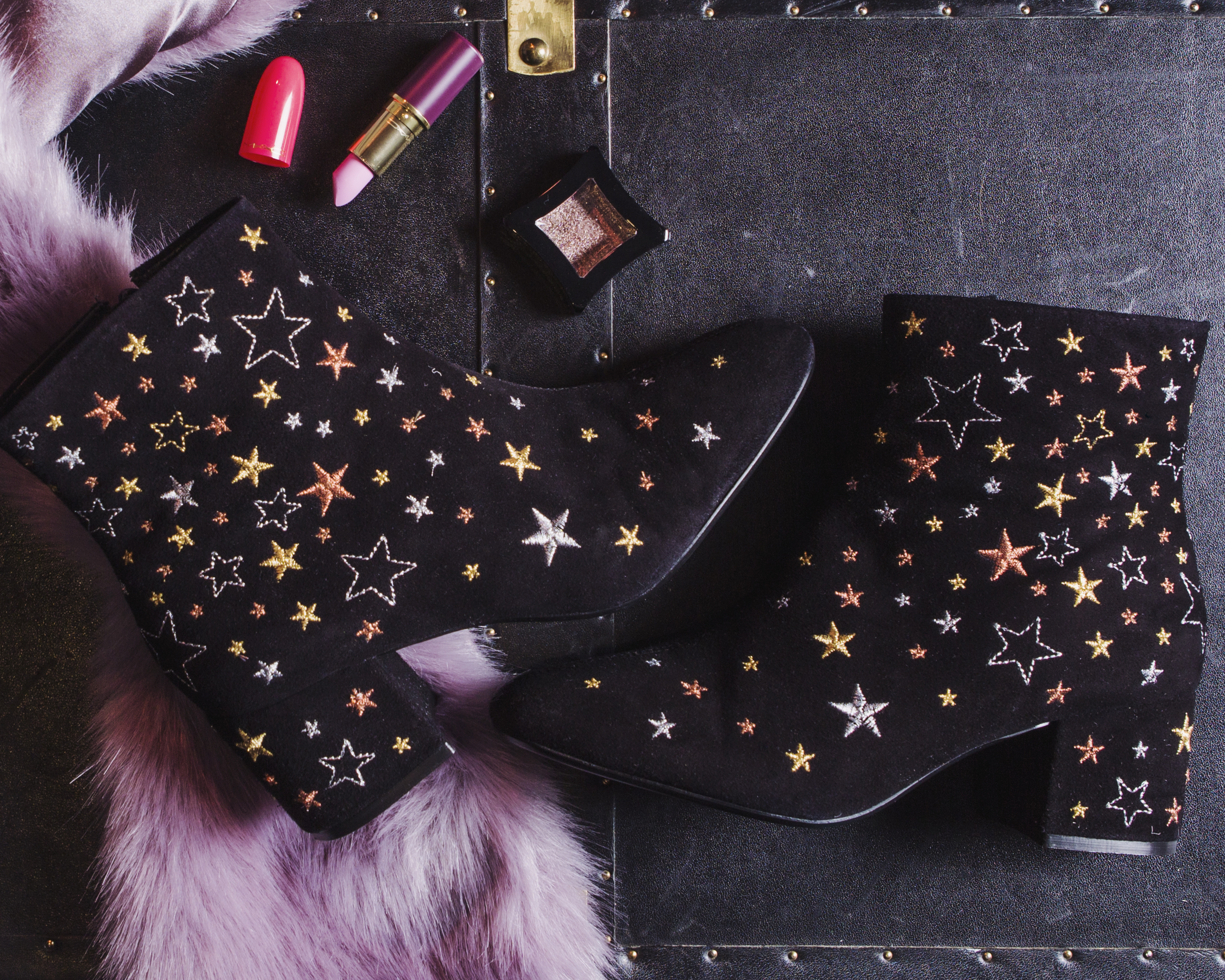 FLAT LAY FEATURING DUNE ALL OVER STAR PRINT ANKLE BOOTS