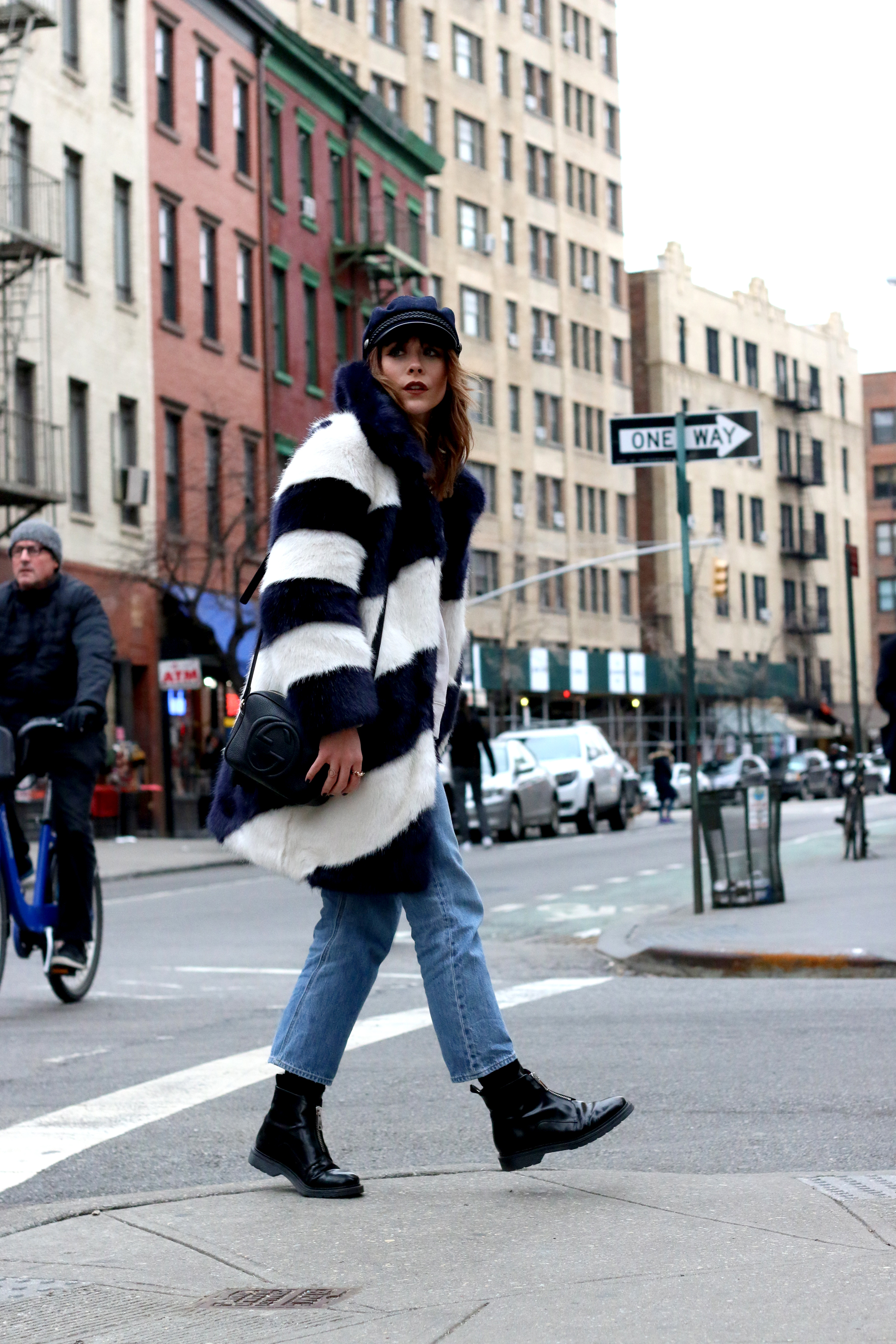 MEGAN ELLABY WEARS J CREW FAUX FUR COAT