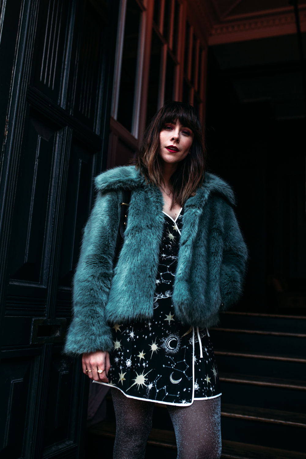 MEGAN ELLABY STYLES COLOURFUL FAUX FUR