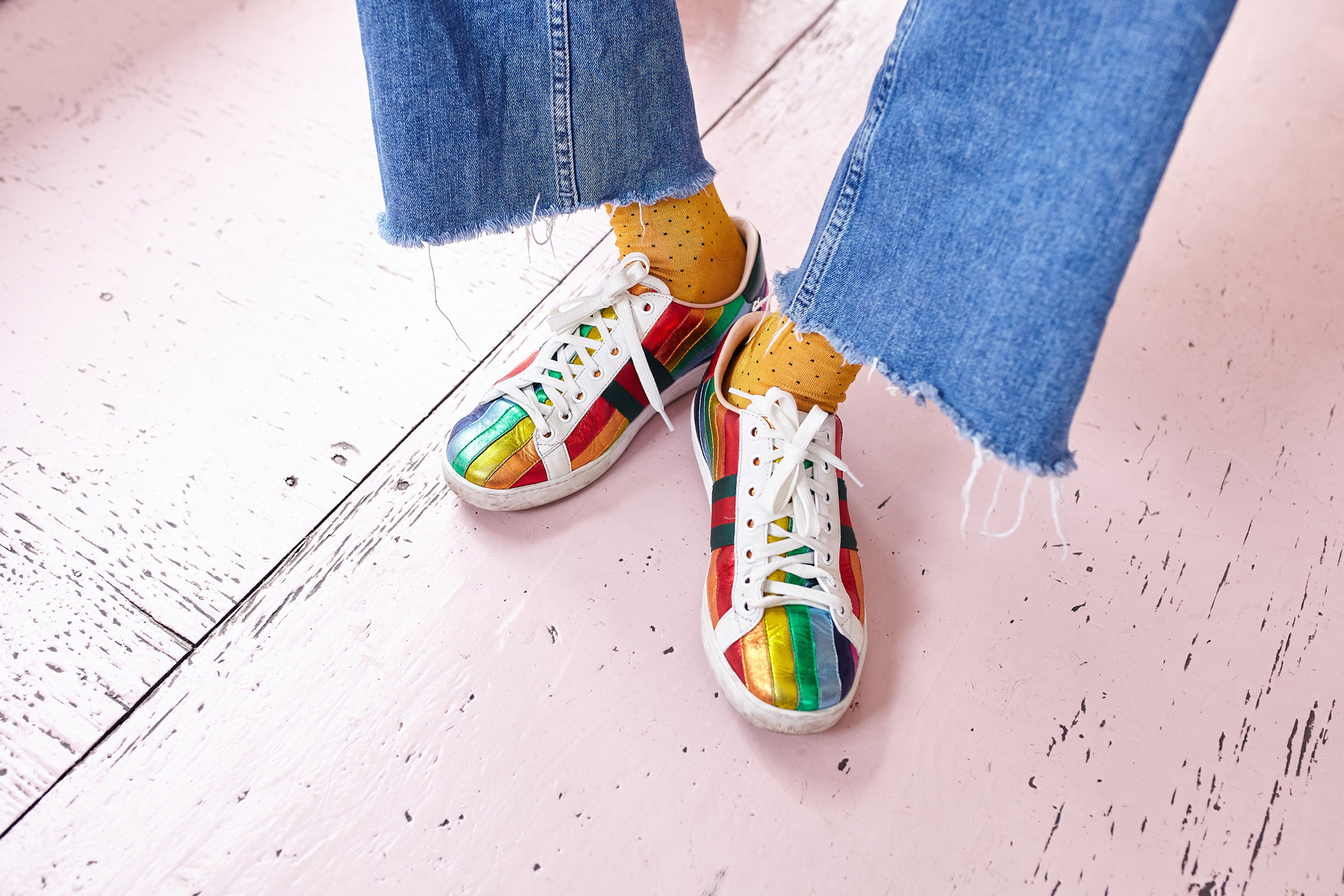 GUCCI RAINBOW TRAINERS
