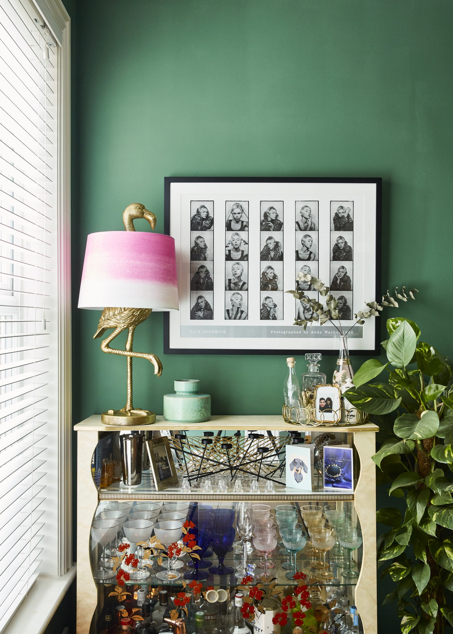 Green walls in the home inspiration. Bar cart inspiration